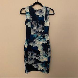 Calvin Klein Blue Floral Scuba Sheath Dress